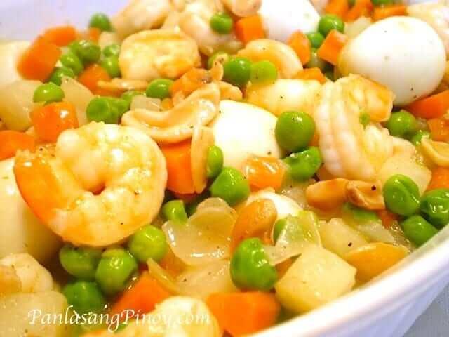 shrimp with quail eggs and green peas recipe