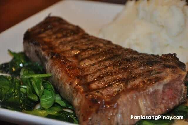 new york strip steak with spinach