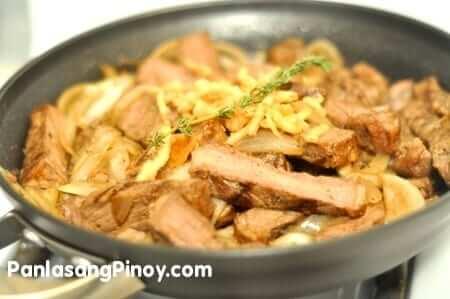 T-Bone Steak sauteed with onions