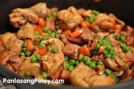 Ham and green peas saute recipe