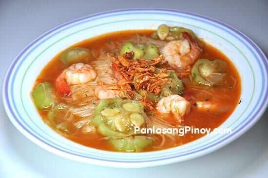 misua with patola and shrimp miswa