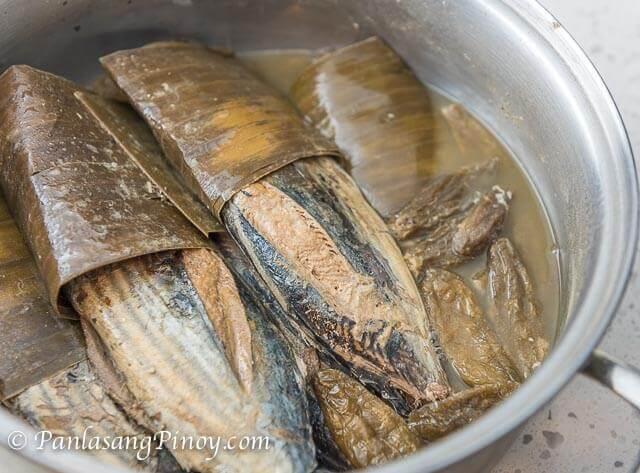 Sinaing na Tulingan Cooked with Kamias and Banana Leaves