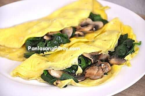 breakfast mushroom spinach omelet
