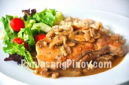 slow cook pork chop with mushroom gravy