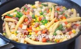 Baby Corn, Ham, and Jicama Stir Fry