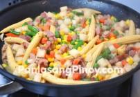 Baby Corn ham and jicama stir fry