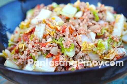 napa cabbage with ground pork recipe