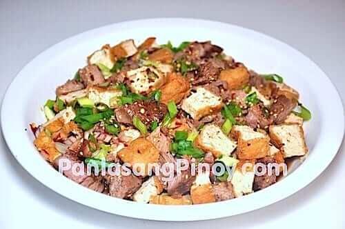 tokwat baka fried tofu and grilled beef in vinegar