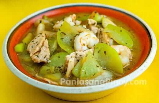 sayote guisado with chicken and shrimp panlasang pinoy