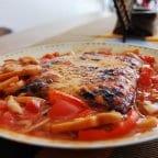 Tofu Steak Fried in Honey and Rosemary with Tuna & Tomato Sauce