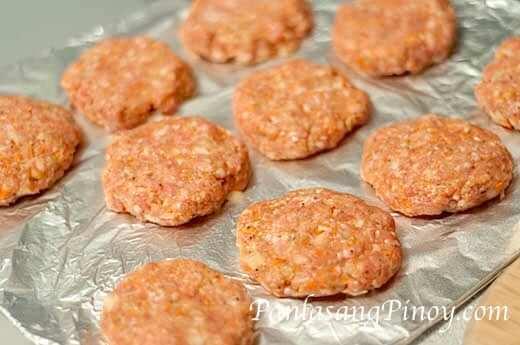 pork burger patty before baking