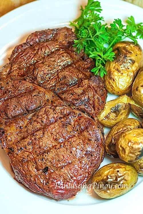 rib eye steak with grilled potato
