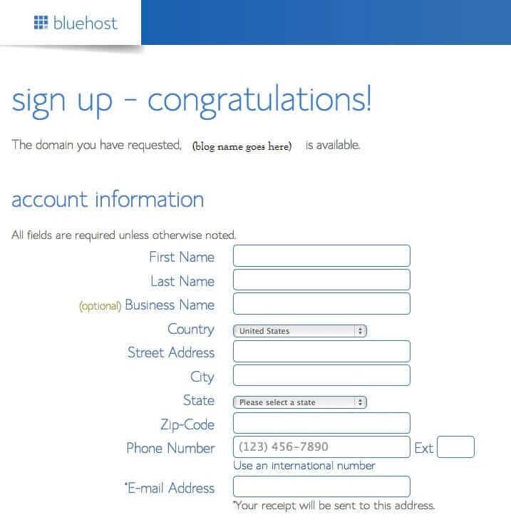 bluehost-account-info-screen