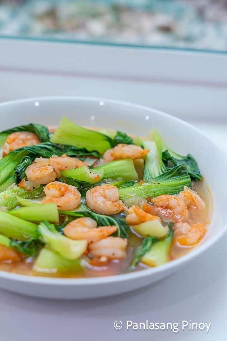 sauteeed bok choy with shrimp