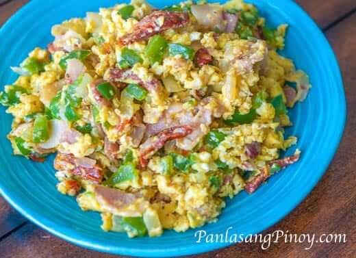 Scrambled Eggs with Sun Dried Tomato and Bacon Recipe
