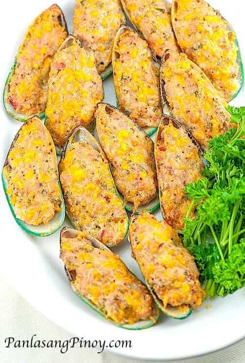 Relyenong Tahong Stuffed Mussels Panlasang Pinoy