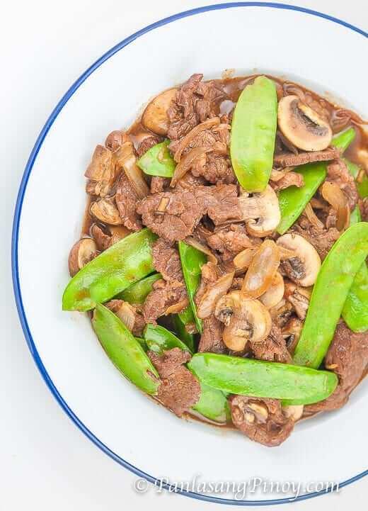 Beef with Mushroom and Snow Peas
