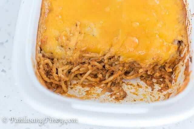 creamy baked spaghetti in pan