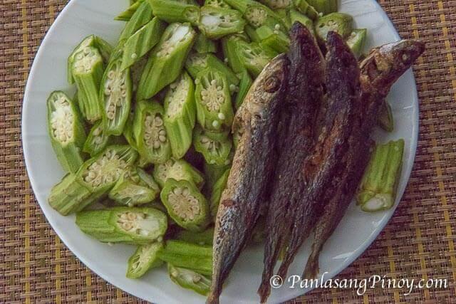 Sliced Okra and Crispy Fried Galunggong