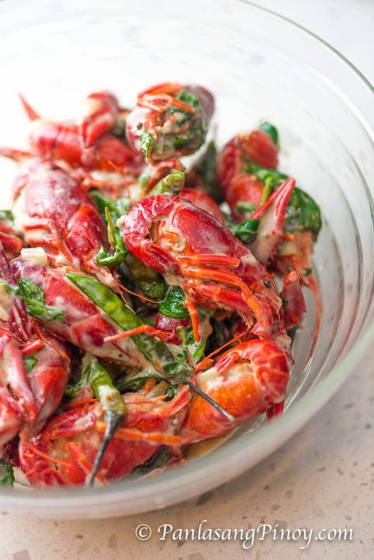 Crawfish Cooked in Coconut Milk with Spinach