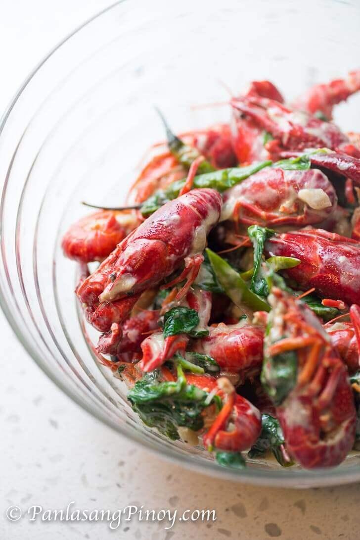 Ginataang Crawfish with Spinach