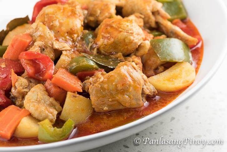 Chicken Afritada with Bell Pepper Recipe