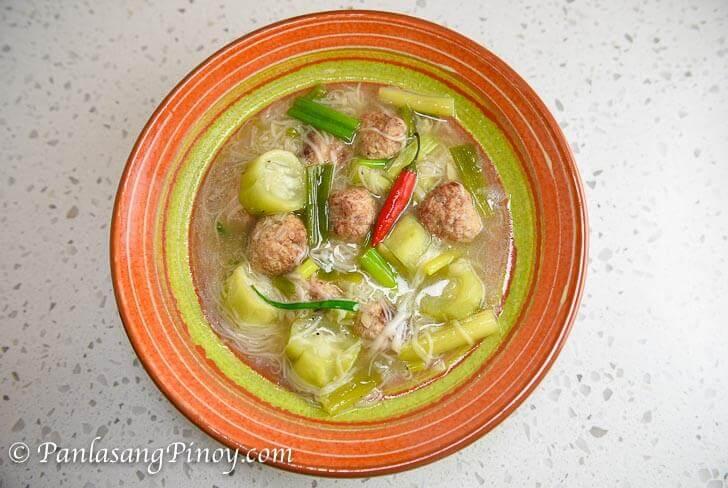 Misua with Patola and Meatballs Recipe