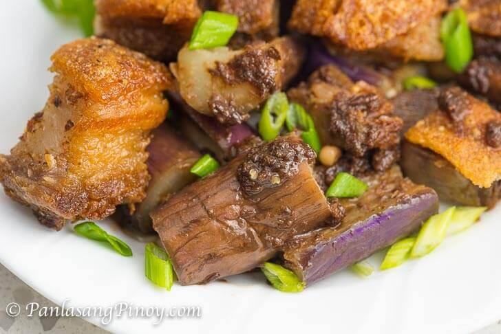 Crispy Binagoongan - Eggplant with Crispy Pork Belly