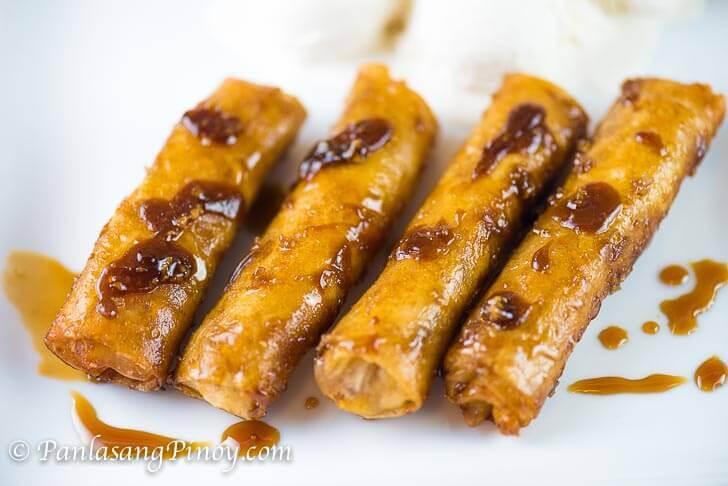 Mini Turon (Banana Lumpia with Caramel)