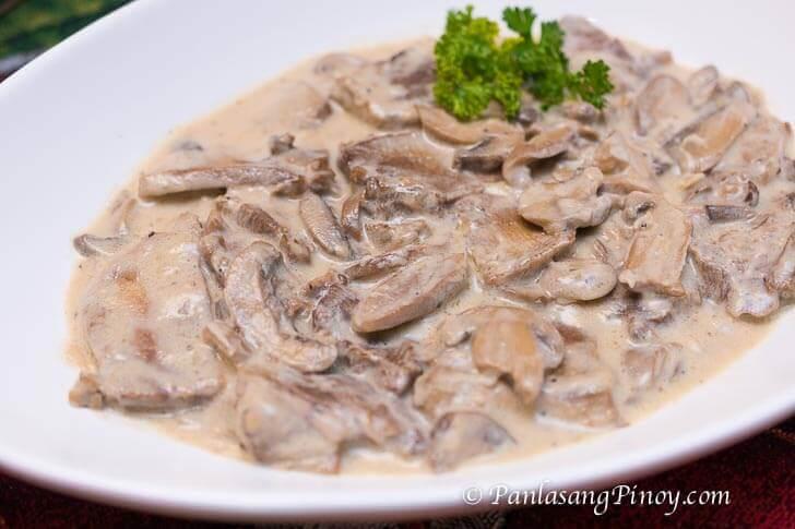 Lengua in White Mushroom Sauce Recipe