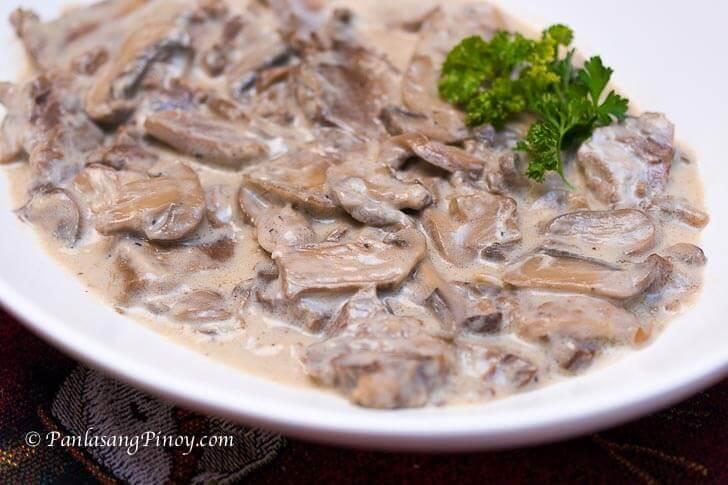 Lengua in White Mushroom Sauce Panlasang Pinoy