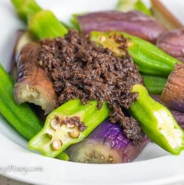 Steamed Eggplant and Okra with Bagoong