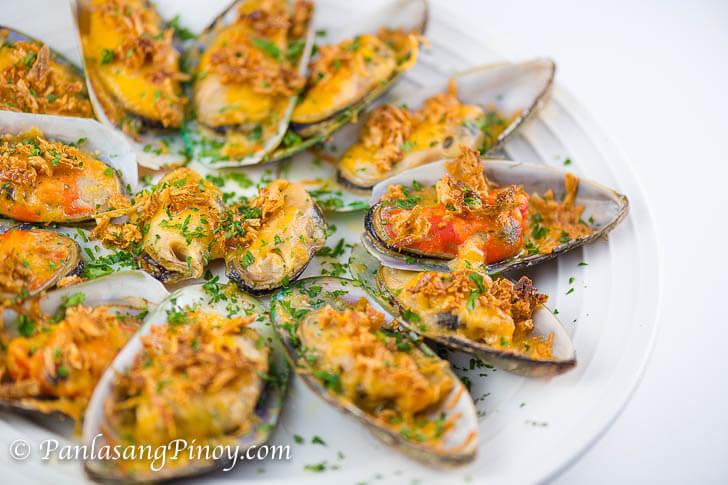Baked Tahong with Butter Cheese and Roasted Garlic Recipe Panlasang Pinoy