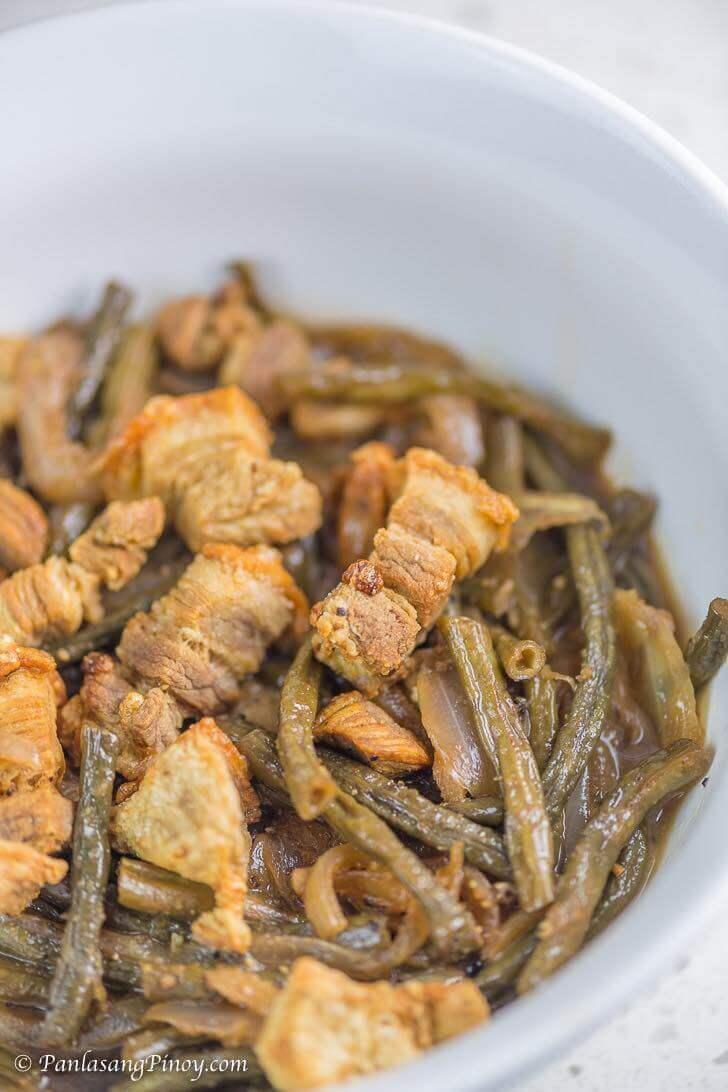 Adobong Sitaw with Lechon Kawali Recipe Panlasang Pinoy