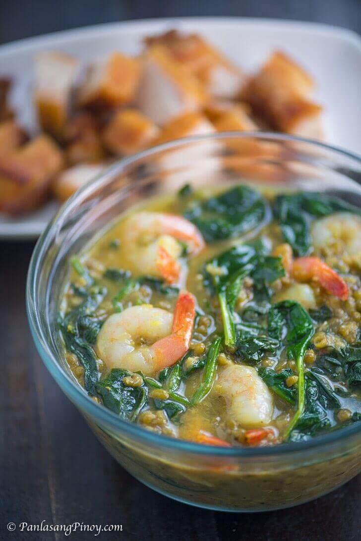 Panlasang Pinoy Shrimp Monggo with Lechon Kawali Recipe