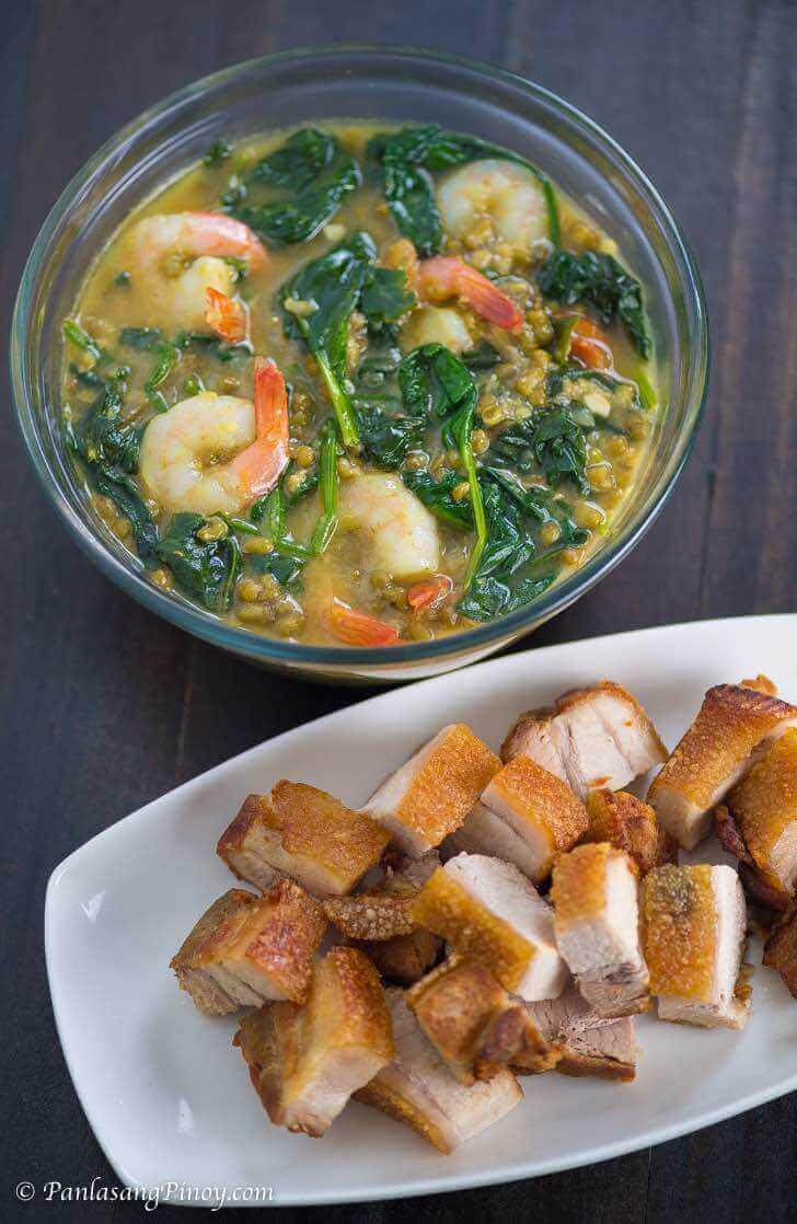 Shrimp Monggo with Lechon Kawali Panlasang Pinoy_