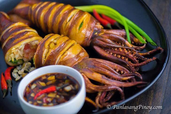 Grilled Stuffed Squid - Inihaw na Pusit