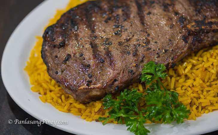 Grilled Rib Eye Steak with Arroz Amarillo Recipe