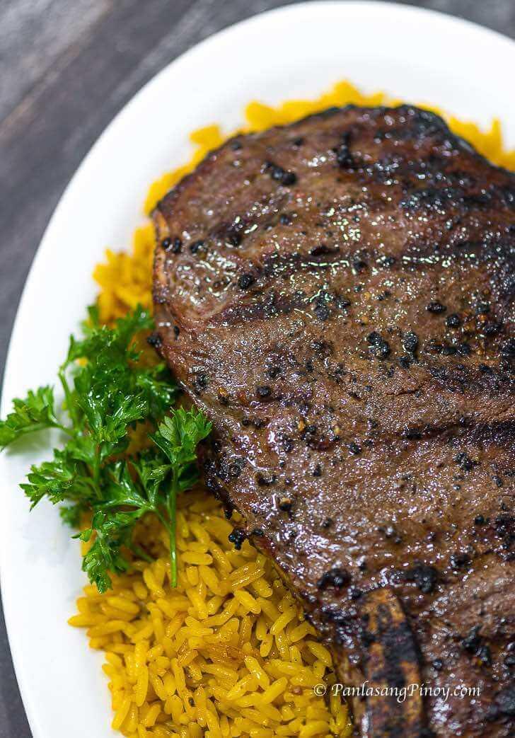 Grilled Rib Eye Steak with Arroz Amarillo