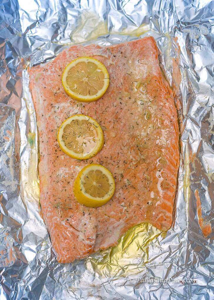 Baked Salmon with Lemon Garlic and Butter Panlasang Pinoy