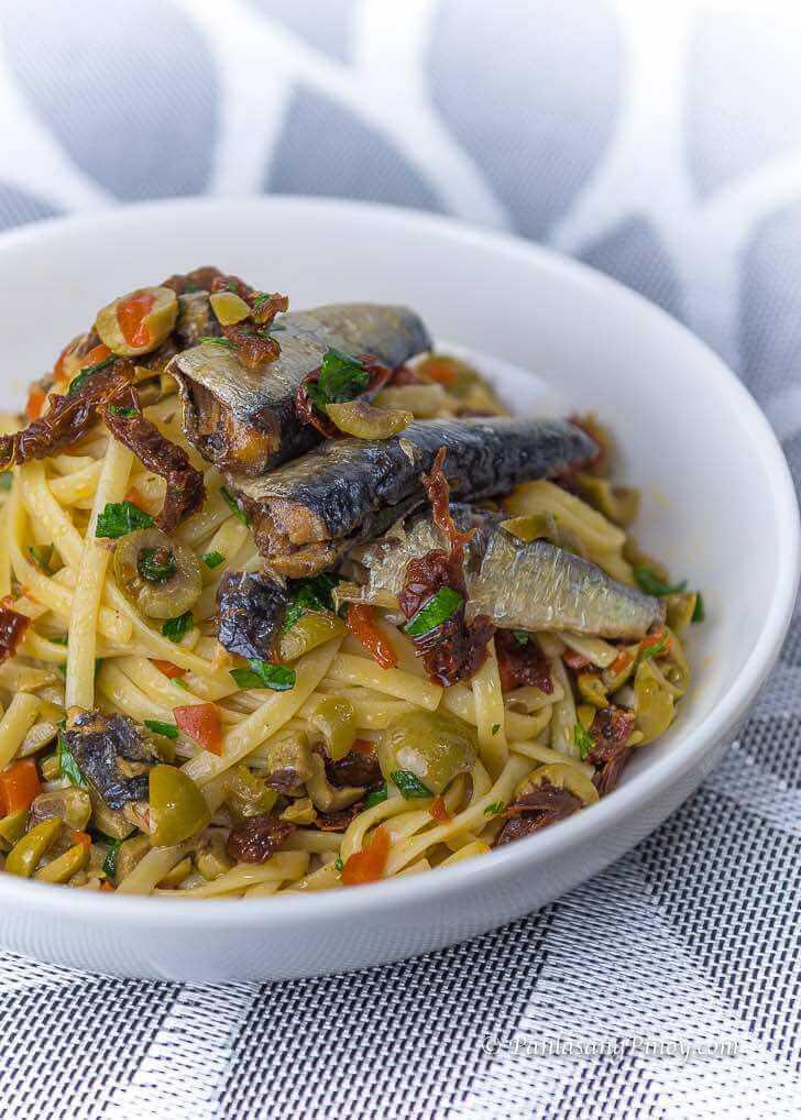 Spanish Sardines Pasta with Sun Dried Tomato and Chopped Olives Recipe Panlasang Pinoy