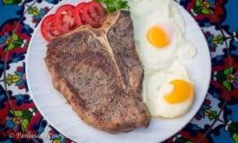 Breakfast T-Bone Steak with Fried Eggs Recipe