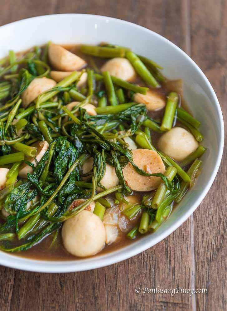 Kangkong with squid balls in Oyster Sauce Panlasang Pinoy