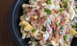 Bacon and Egg Macaroni Salad with Green Peas
