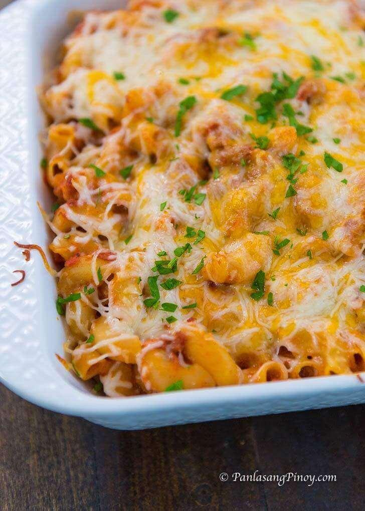 corned beef baked macaroni recipe panlasang pinoy