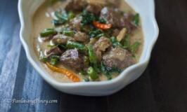 ginataang baka with green beans and spinach