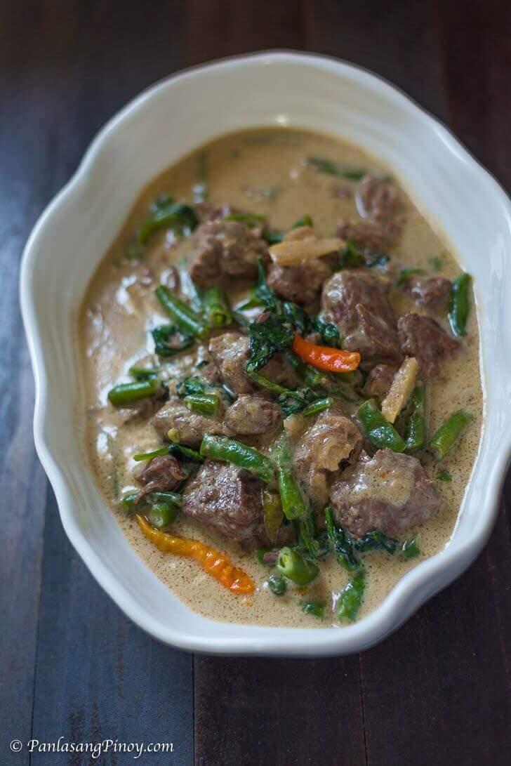 ginataang baka with green beans and spinach recipe