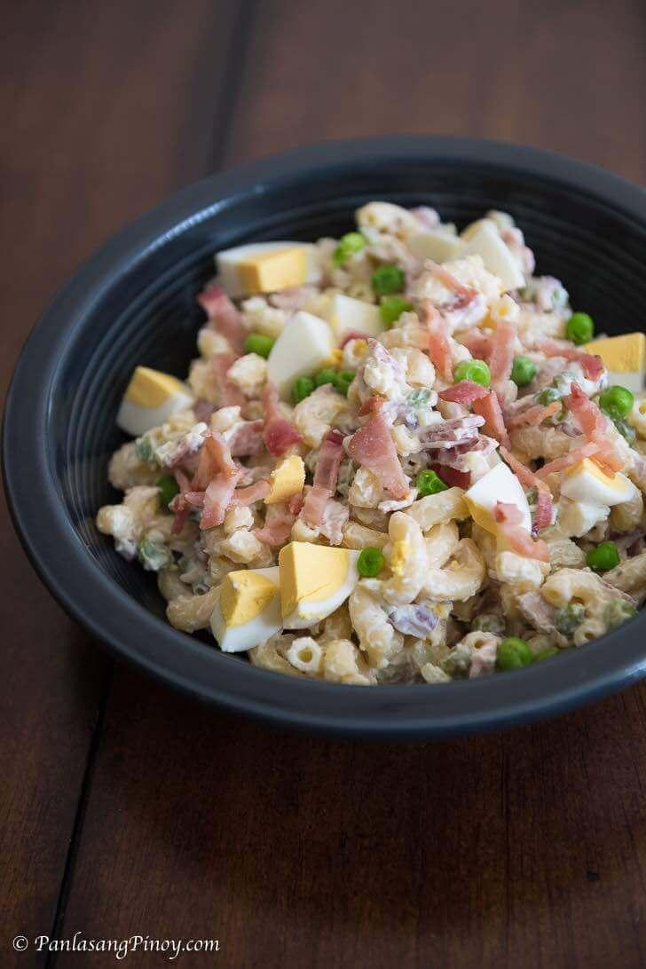 panlasang pinoy bacon and egg macaroni salad with green peas recipe