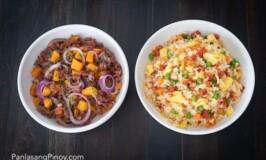 Longanisa Fried Rice and Ginisang Corned Beef with Kalabasa