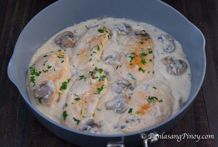 creamy garlic parmesan chicken with mushrooms